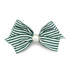 Imara Stripes Hair Bow Clip - Forest Green