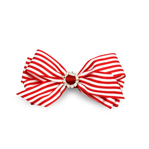 Imara Stripes Hair Bow Clip - Red