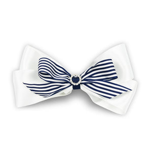 Imara Large Stripes Hair Bow Clip - Navy
