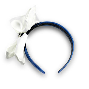 White & Navy Alice Band
