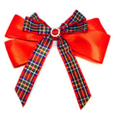 Large Knotted Red Tartan Hair Clip