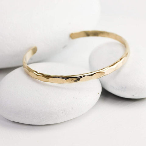 Lotus Stone Jewelry Wide Hammered Gold Cuff