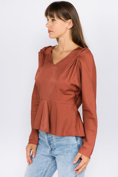 Rust Draped Sleeve Top