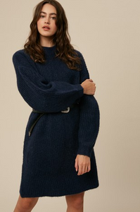 Midnight Blue Soft Knit Ribbed Dress
