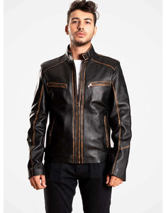 Black Leather Biker Jacket For Men