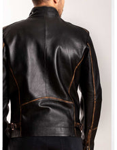 Load image into Gallery viewer, Black Leather Biker Jacket For Men