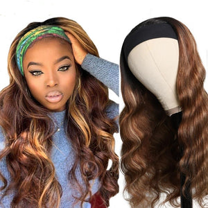 Body Wave Ombre Highlight Headband Human Hair Wig