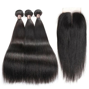 Brazilian Straight Human Hair Bundles With 5x5 Closure