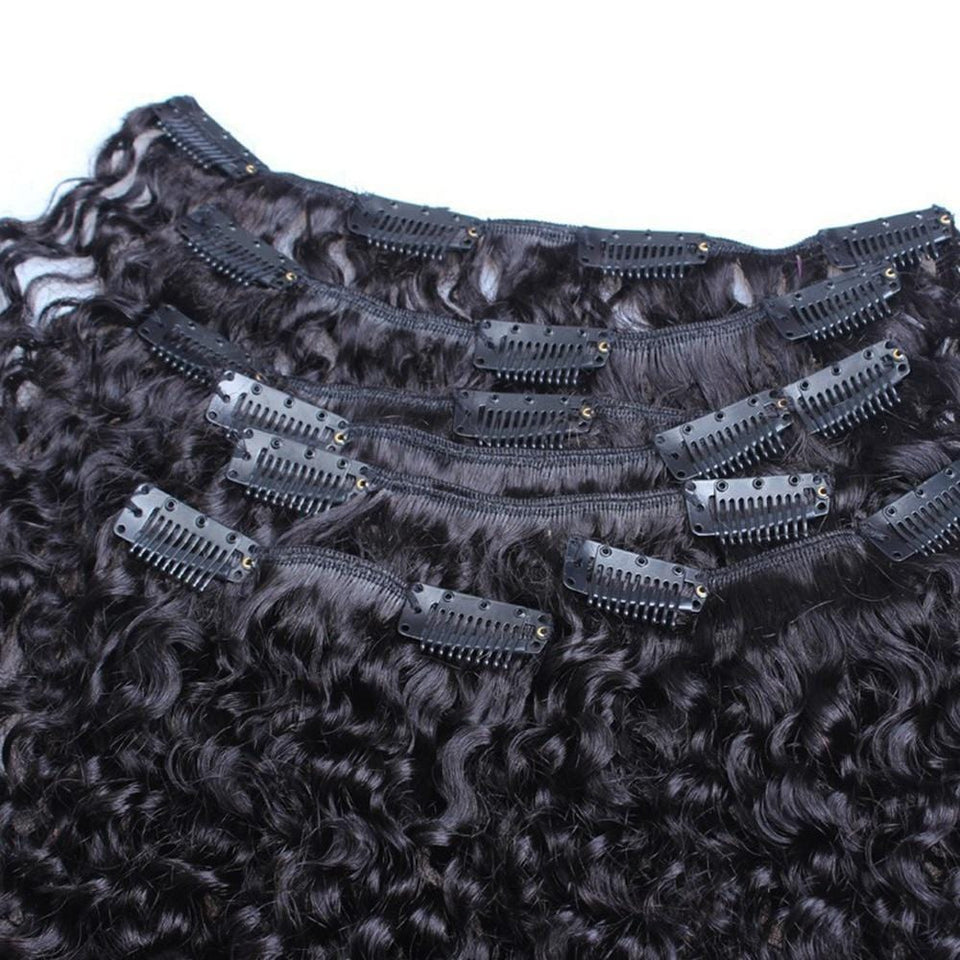 Mongolian Kinky Curly Clip-In Remy Human Hair Extensions 7 Pcs
