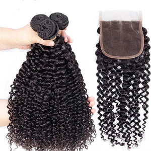 Mongolian Kinky Curly Hair Weave 3 Bundles With Closure