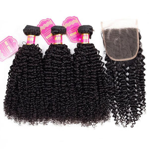 Kinky Curly Bundles With Closure 4x4 Closure Remy Human Hair Bundles