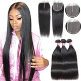 Bone Straight Human Hair Bundles With Closure