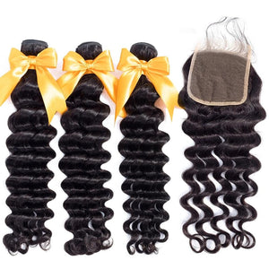 Loose Deep Wave Human Hair Bundles With Closure