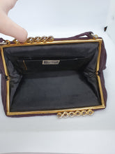 Load image into Gallery viewer, 1930s Aubergine Purple Grosgrain Bag With Swirly Clasp