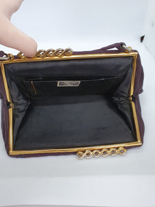 1930s Aubergine Purple Grosgrain Bag With Swirly Clasp