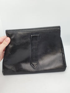 1930s Leather Navy Clutch Bag With Strap At The Back