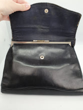 Load image into Gallery viewer, 1930s Leather Navy Clutch Bag With Strap At The Back