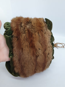 1940s Brown Fur Muff With Green Velvet Trim