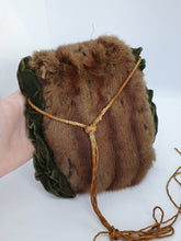 Load image into Gallery viewer, 1940s Brown Fur Muff With Green Velvet Trim