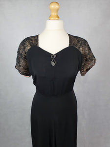 1930s VOLUP Black Dress with Lace Back and Sleeves With Diamante Brooch