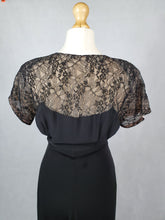 Load image into Gallery viewer, 1930s VOLUP Black Dress with Lace Back and Sleeves With Diamante Brooch