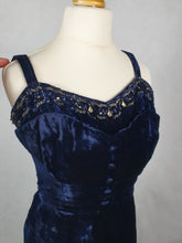 Load image into Gallery viewer, 1940s Stunning Midnight Blue Silk Velvet Dress With Stunning Beading and Buttons
