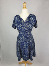 Load image into Gallery viewer, 1950s Stunning Navy Blue Dress With White Apple Print