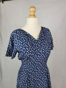 1950s Stunning Navy Blue Dress With White Apple Print