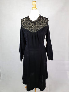 Late 1940s Early 1950s VOLUP Black Crepe Dress With Lace Neckline and Cuffs