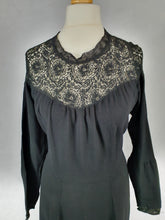 Load image into Gallery viewer, Late 1940s Early 1950s VOLUP Black Crepe Dress With Lace Neckline and Cuffs