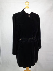 1940s AMAZING Black Thick Velvet Swing Jacket/Coat With Huge Belt and Studs