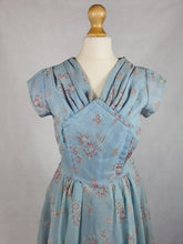 Load image into Gallery viewer, 1950s Pale Blue Chiffon Dress With Burgundy and White Flocked Flowers,