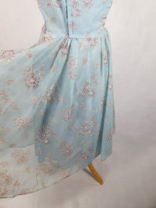 1950s Pale Blue Chiffon Dress With Burgundy and White Flocked Flowers,