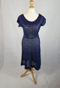 Late 1940s Amazing Navy Blue Lace Dress With Purple Trim