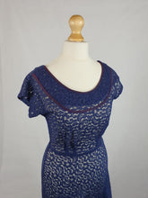 Load image into Gallery viewer, Late 1940s Amazing Navy Blue Lace Dress With Purple Trim