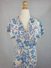 Load image into Gallery viewer, 1940s VOLUP White Dress With Pale Blue and Purple Leaf Print