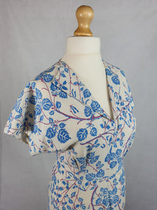 1940s VOLUP White Dress With Pale Blue and Purple Leaf Print