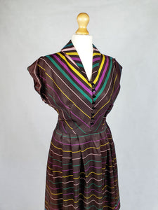 Amazing But Wounded Late 1940s Brown Patio Dress With Yellow, Green and Purple Stripes