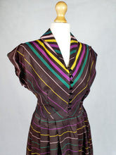 Load image into Gallery viewer, Amazing But Wounded Late 1940s Brown Patio Dress With Yellow, Green and Purple Stripes