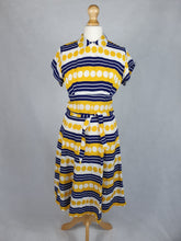 Load image into Gallery viewer, 1940s Amazing Yellow, White and Blue Spots and Stripes Dress With Peter Pan Collar