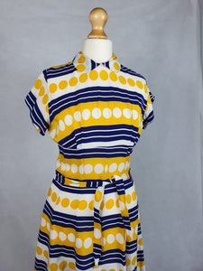 1940s Amazing Yellow, White and Blue Spots and Stripes Dress With Peter Pan Collar