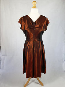 Amazing Late 1940s Bronze Iridescent Dress With Bow