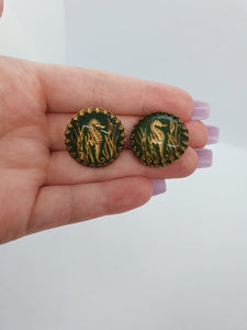 1950s Mid Century Reverse Carved Seahorse Clip Earrings