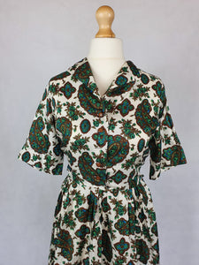 1950s Wounded Green, Blue and Brown Paisley Print Terylene Dress