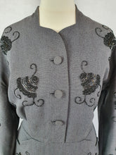 Load image into Gallery viewer, 1940s Incredible Grey Wool Dress With Pockets and Beading
