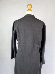 1940s Incredible Grey Wool Dress With Pockets and Beading