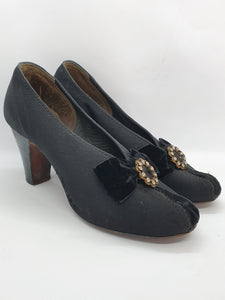 1930s Black Canvas and Velvet Court Shoes With Diamante Embellishment and Patent Heel