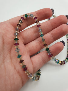 1930s Purple, Pale Blue, Green and Clear Beaded Necklace with Marcasite Fastener
