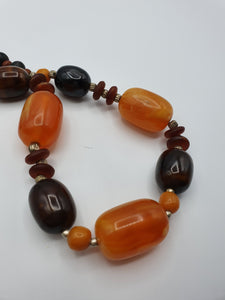 1950s Huge Chunky Orange/Brown and Black Marbled Necklace