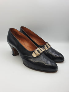 1930s Black Leather Shoes With Mock Snakeskin Buckle Front